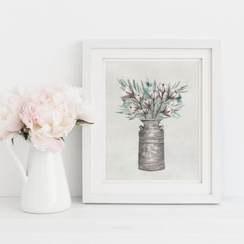 Watercolor Milk Jug Farmhouse Art Print