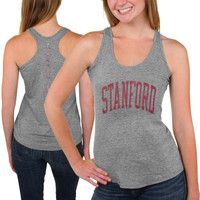 Stanford Cardinal Womens Breaking Hearts Tri-Blend Racerback Tank Top – Gray
