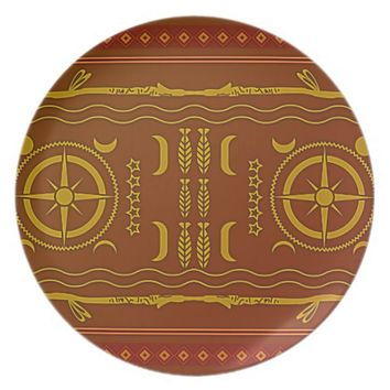 Golden Brown African Symbols Melamine Plate