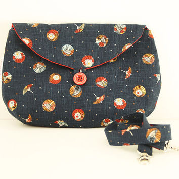 Navy blue clutch, Japanese umbrellas, red lining: detachable strap