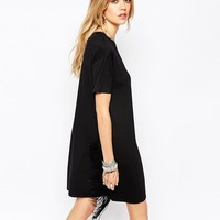Missguided Fringe Side T-Shirt Dress