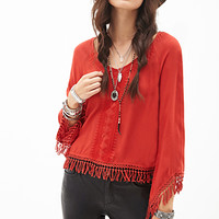 FOREVER 21 Fringed Peasant Top Rust