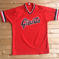 Vintage Pro-Knit San Francisco Giants Jersey Orange V neck Men MLB Jersey Tee