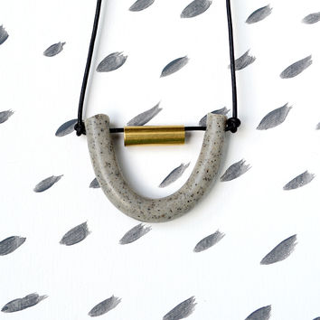 Soft Rock Necklace | Abacus Necklace in Grey Granite and Brass