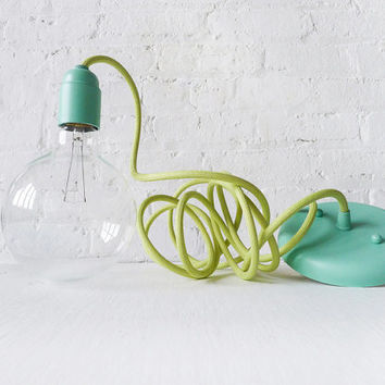 Hanging Textile Pendant Light - Pastel Blue Mint Hardware - Light Green Color Cloth Cord - Custom Designed - Ceiling Lamp - Large Globe Bulb