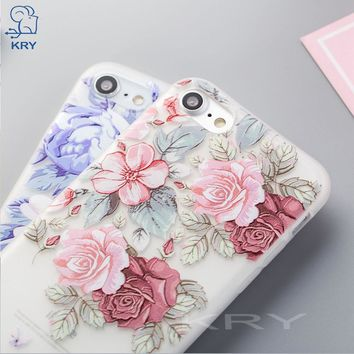 KRY Relief Floral Phone Cases For iPhone 7 6 8 Plus Case For iPhone X Cases Flower Soft Cover For iPhone 6 6S 5 5S SE Case Capa