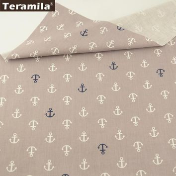 Teramila Cotton Fabrics Blue and White Sea Anchor Patterns Light Grey Quilting Patchwork Bedding Home Textile Cloth Decoration