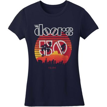 Doors  Sunset 50th Girls Tee Junior Top Blue
