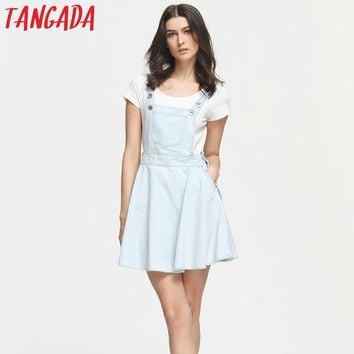 Tangada Fashion Summer Womens Elegant Pocket Strap Denim Dress Sleeveless Casual Overalls Dresses Female Vestidos Femininos XD17