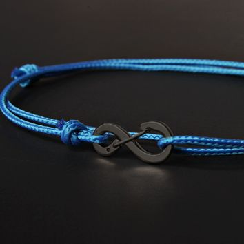 Infinity Bracelet - Light Blue cord men's bracelet with black clasp