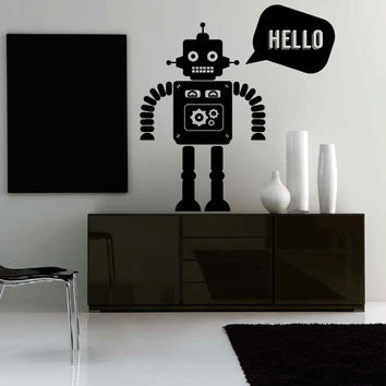 Wall Decor Vinyl Sticker Room Decal Robot Cute Nursery Science Mechanics Hello Home (s174)