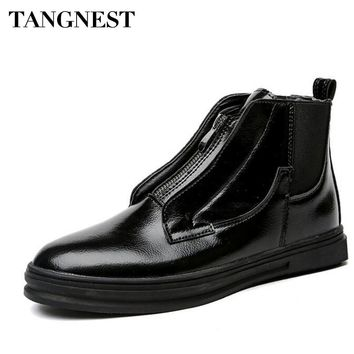 Tangnest Man's Solid Zip Ankle Boots Men Flock & Handmade PU Leather Shoes Men New 2017 Autumn Slip On Fashion Boots XMB599