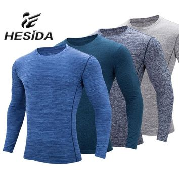 Men's Rashgard with Long Sleeve Jersey Compression Shirt Quick Dry Stripe Thermal Underwear Male Sport Suit Tee Top Sweatshirt