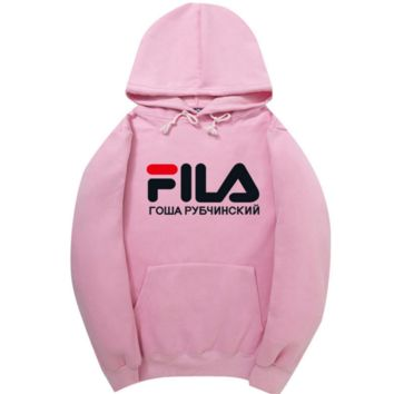 FILA Fashion Long Sleeve Hooded Print Embroider Casual Sweater PINK