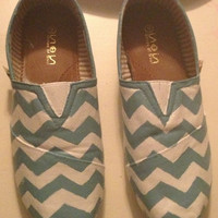 Hand painted chevron striped Toms like shoes.