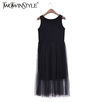TWOTWINSTYLE Tulle Summer Dress Vest Midi Long Beach Dresses Women Sleeveless Sexy Tunic Female Clothes Korean Big Plus Size
