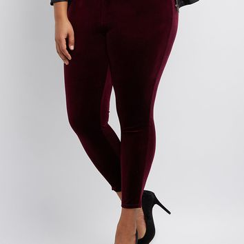 Plus Size Velvet High-Rise Leggings
