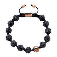 Men's Beaded Bracelet with Rose Gold and Lava Stone