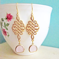 Pink Dangle Earrings Gold Braided Tassel Knot Glass Drop Pastel Pink Wedding Earring Bridesmaid Gift Bridal Jewelry Modern Classy Elegant C1
