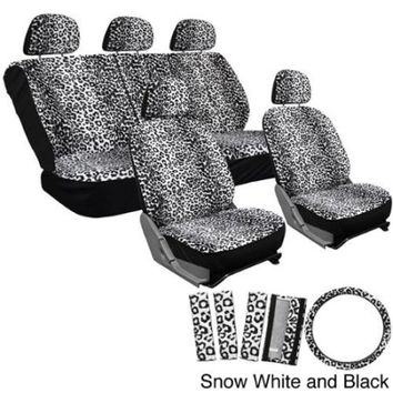 Oxgord Velour Leopard / Cheetah Seat Covers 17-Piece Set Spotted Safari for Low Back Bucket Seats Snow White and Black - Walmart.com