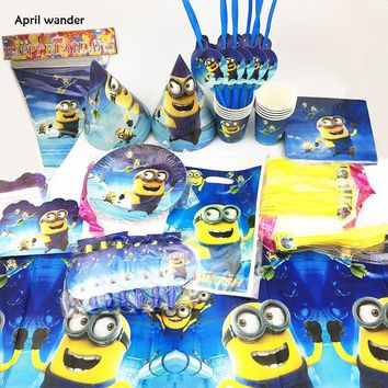 135pcs/lot 10 kids Minions Party Set Tableware Plate Napkins flag Happy Birthday Cartoon Cups Forks Baby Shower Party Decoration