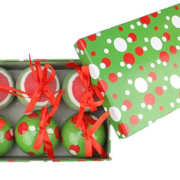 6-Piece Red White and Green Polka Dot Decoupage Shatterproof Christmas Ball Ornament Set 2.75""