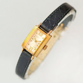 Rectangular women's watch Glory rare design, little gold plated lady wristwatch, classic woman watch unique gift, new premium leather strap