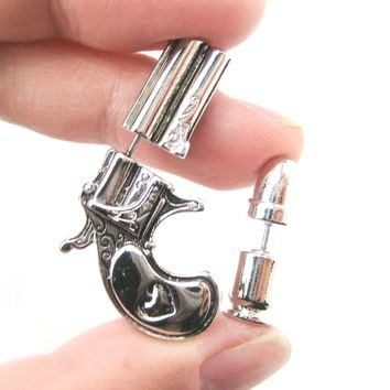Fake Gauge Earrings: Gun Pistol and Bullet Shaped Faux Plug Stud Earrings in Shiny Silver