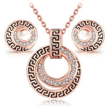 parure costume jewelry sets bijoux ensemble vintage Rose Gold color fashion classic crystal necklace earring set for women girl