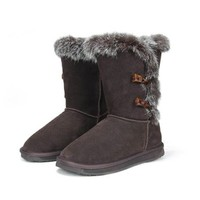 ZLYC Ladies Fur Trimmed Leather Mid Calf Furry Snow Boots