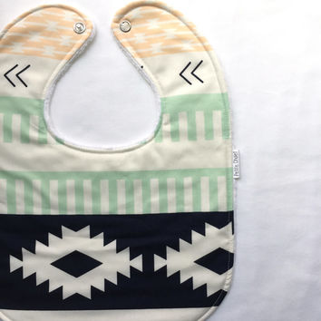 Baby Bib - Modern Baby Bib- Aztec Baby Bib - Arizona Baby Bib - Navy, Teal, and Coral -White Bubble Dot Minky Backing - Handmade Baby Gift