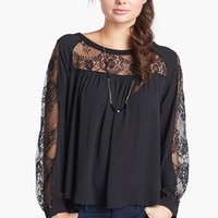 Elodie Lace Inset Peasant Top (Juniors) (Online Only) | Nordstrom