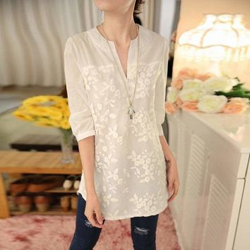 Embroidered  V-neck Organza Three Quarter Sleeve Blouse
