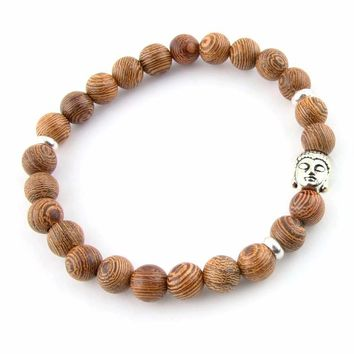 Wood Beads Raw Ore Natural Agate Stone Lava Bracelet Bangles