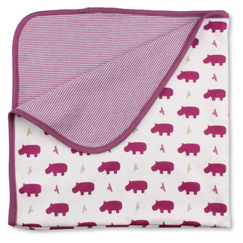 Hippo Receiving Blanket - Organic Cotton