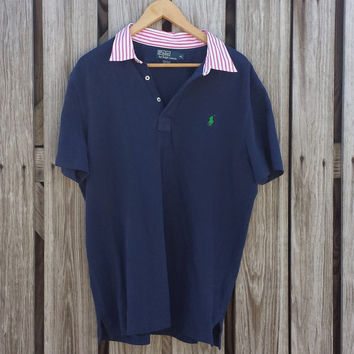 Vintage RALPH LAUREN Men's Polo Shirt - Navy Blue Shirt - Striped Collar - Sz XL