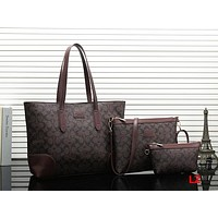 COACH Women Shopping Leather Tote Handbag Satchel Shoulder Bag Set Three Piece