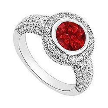 Ruby and Diamond Halo Engagement Ring : 14K White Gold - 1.75 CT TGW