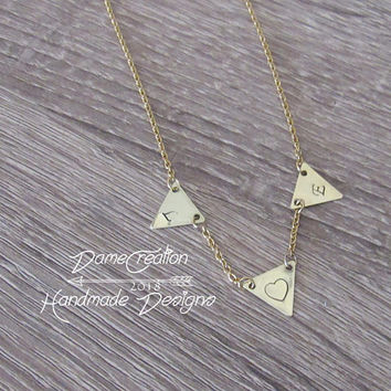 Tiny Triangle Necklace, Geometric Necklace Minimalist Jewelry, Engraved Initial Necklace, Initial Pendant Gold, Brass Triangle Necklace