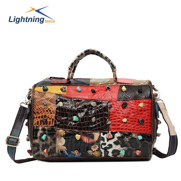 2015 Patchwork Genuine Leather Bag Bowling Women Handbags Fashion Shoulder Bags Autumn and Winter Bag National Brand Bag HB159F