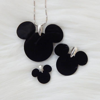 Disney Mickey mouse ears black glass pendant Disney jewelry Mickey and minnie jewelry