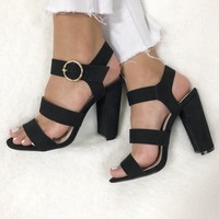 Luna Open Toe Heels in Black