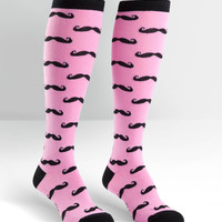 Pink Knee High Mustache Socks