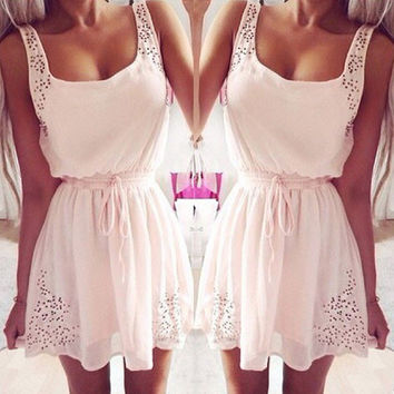 Sweet Waist String Sleeveless Chiffon Dresses