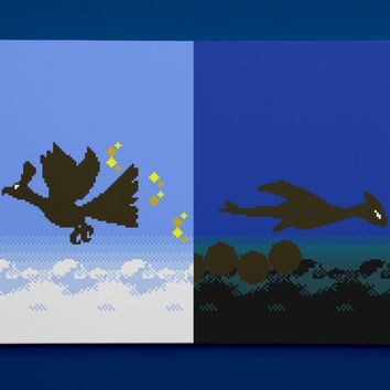 """Pokemon Gold and Silver, Ho-Oh and Lugia Silhouettes (16"""" x 24"""") - Canvas Wrap Print"""