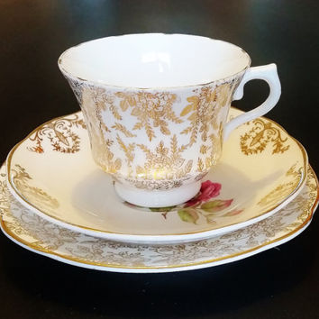 English Bone China Tea Cup Mismatched China Trio of Royal Vale Teacup, Saucer and Imperial Side Plate. White Gold Filigree Pattern Lady