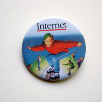 "Vintage Internet book cover meme 1x1.5"" pinback button badge from Stickerama"