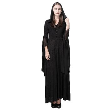 013dbc025c8 Steampunk Gothic Women Hooded Lace Knit Dress Vintage Medieval W