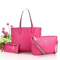 Gucci Women Fashion trending Shopping Bag Leather Tote Handbag Shoulder Bag Three Piece Set Rose red G