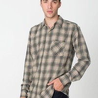 rsafn400 - Tartan Plaid Flannel Long Sleeve Button-Up with Pocket